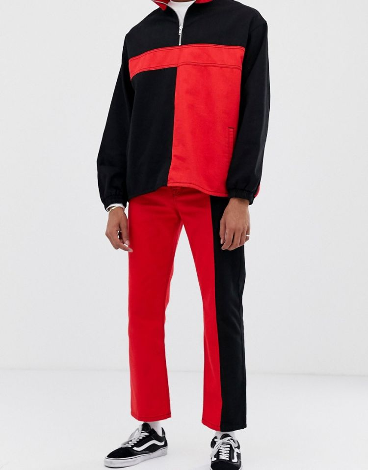 Image Collusion Colour Blocked Straight Leg Jeans In Black And Red