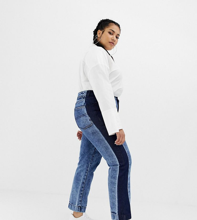 Image Collusion Plus Straight Leg Jeans In Acid Wash With Contrast Panel