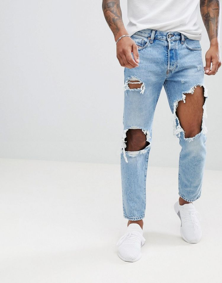 Image Diesel Mharky 90s Fit Lightwash Distressed Jeans 0076m