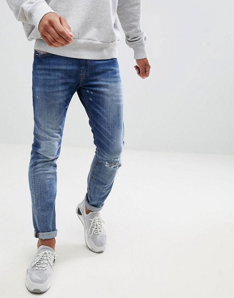 Image Diesel Thommer Blasted Slim Stretch Jeans 084tw