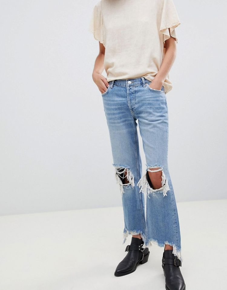 Image Free People Maggie Straight Leg Distressed Jean