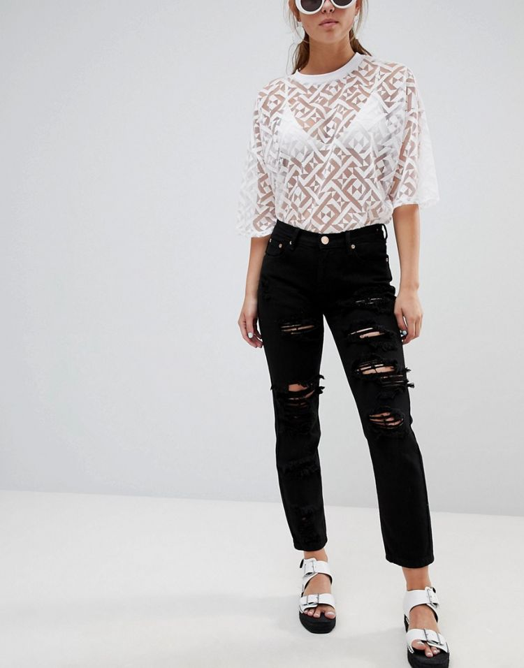 Image Glamorous Ripped Boyfriend Jeans