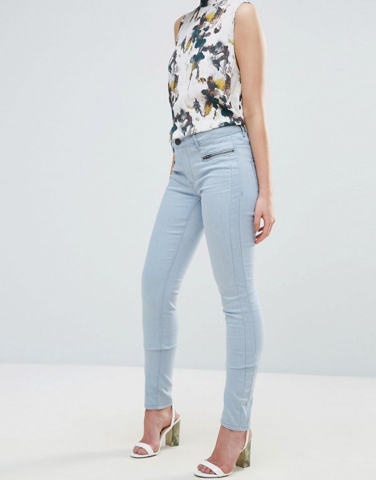 Image Ichi Skinny Jean With Zip Detail