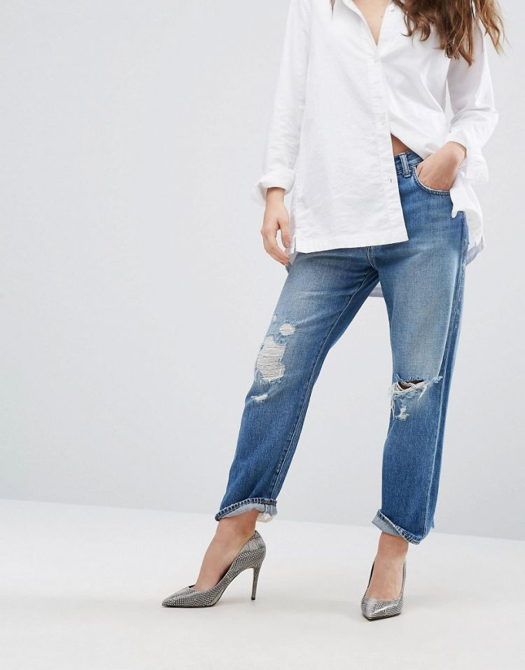 Image J Brand Ivy High Rise Cropped Boyfriend Jeans With Abrasions