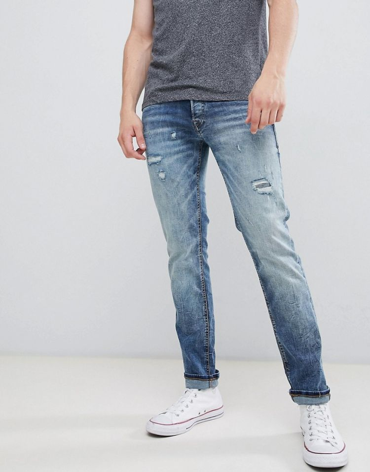 Image Jack & Jones Intelligence Jeans In Slim Fit With Open Rips