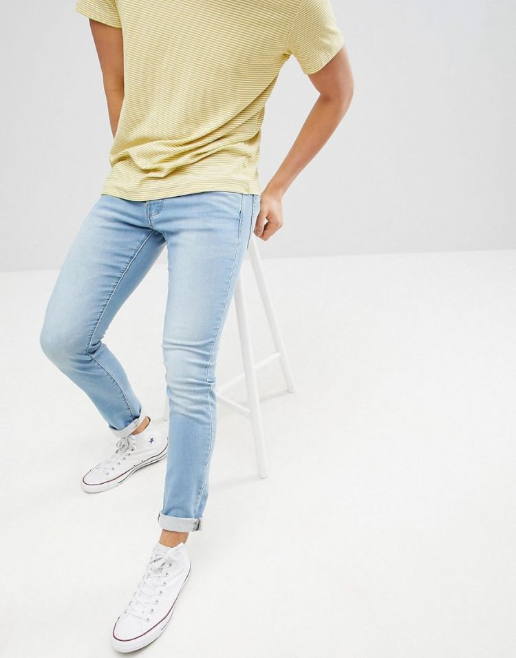 Image Jack & Jones Slim Fit Light Blue Jeans In Premium Wash