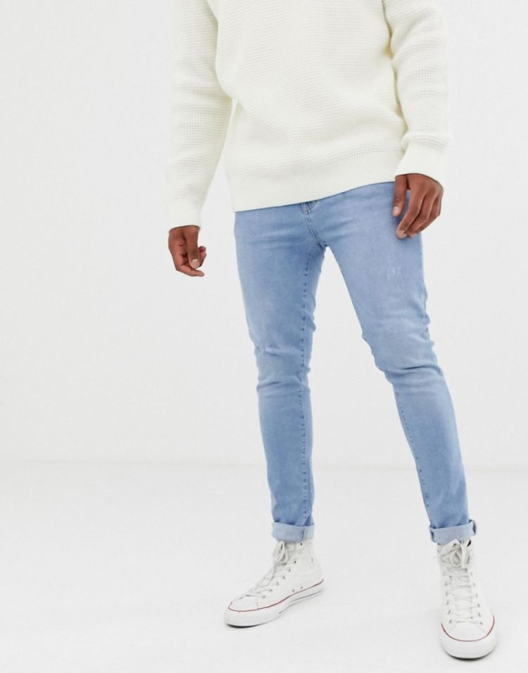 Image Kiomi Slim Jeans In Light Blue With Tapered Leg