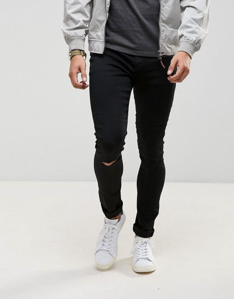 Image Ldn Dnm Black Spray On Jeans With Knee Rips