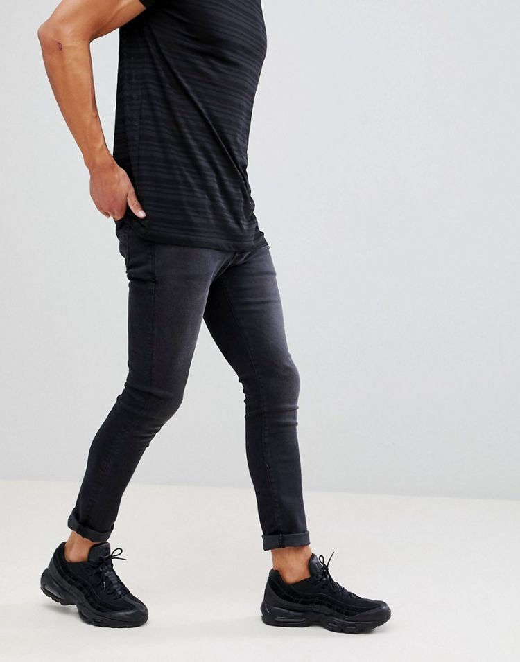 Image Mennace Black Skinny Relaxed Jeans