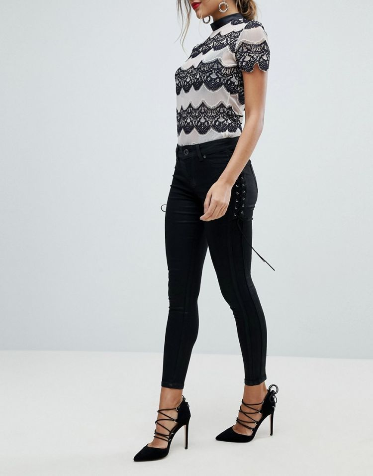 Image Morgan Skinny Jean With Lace Up Side Detail