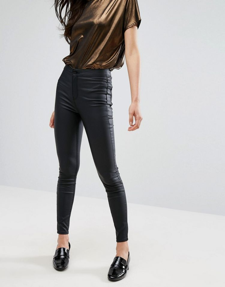 Image New Look Coated Super Skinny Jeans