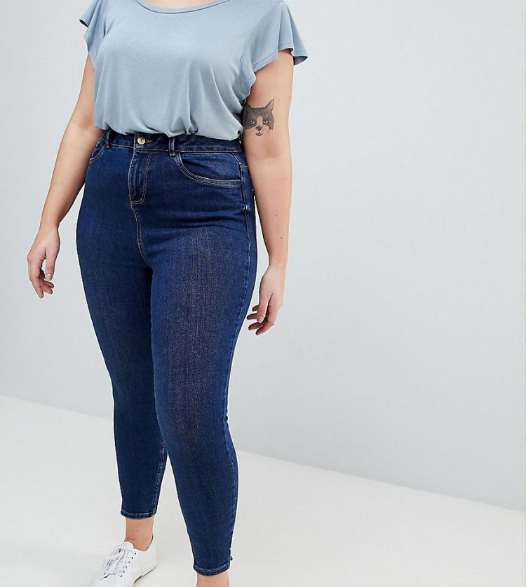 Image New Look Curve Mid Blue Wash Skinny Jean
