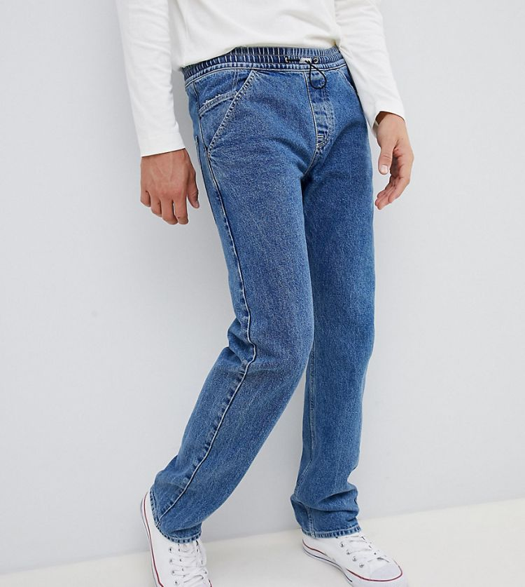 Image Noak Straight Jeans In Mid Wash Blue With Toggle