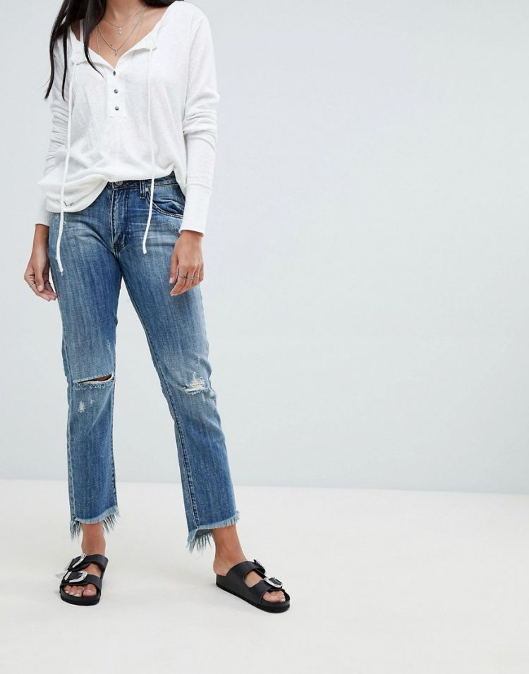 Image One Teaspoon High Waist Straight Jeans With Rips And Raw Hem