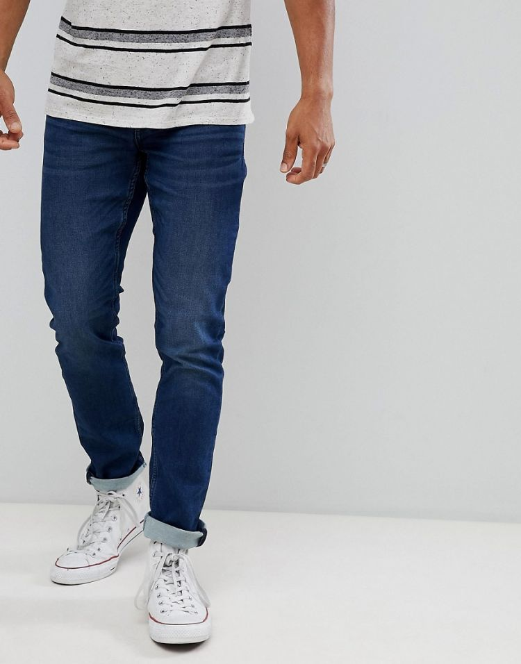 Image Only & Sons Slim Fit Jeans With Washed Detail In Mid Blue
