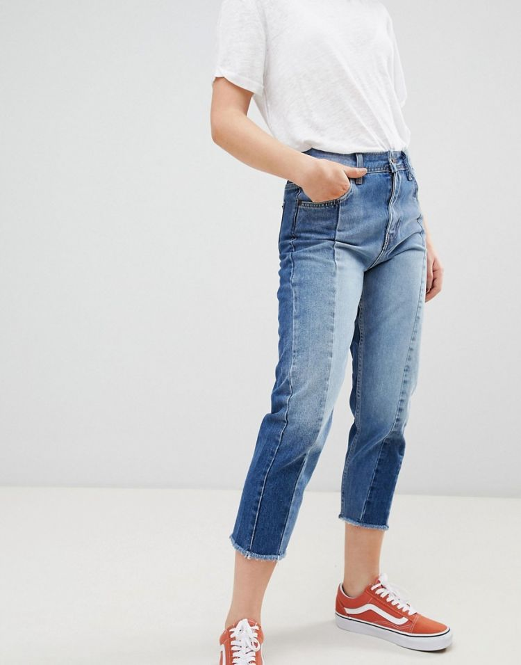 Image Pepe Jeans Patchy Panelled Cropped Boyfriend Jeans