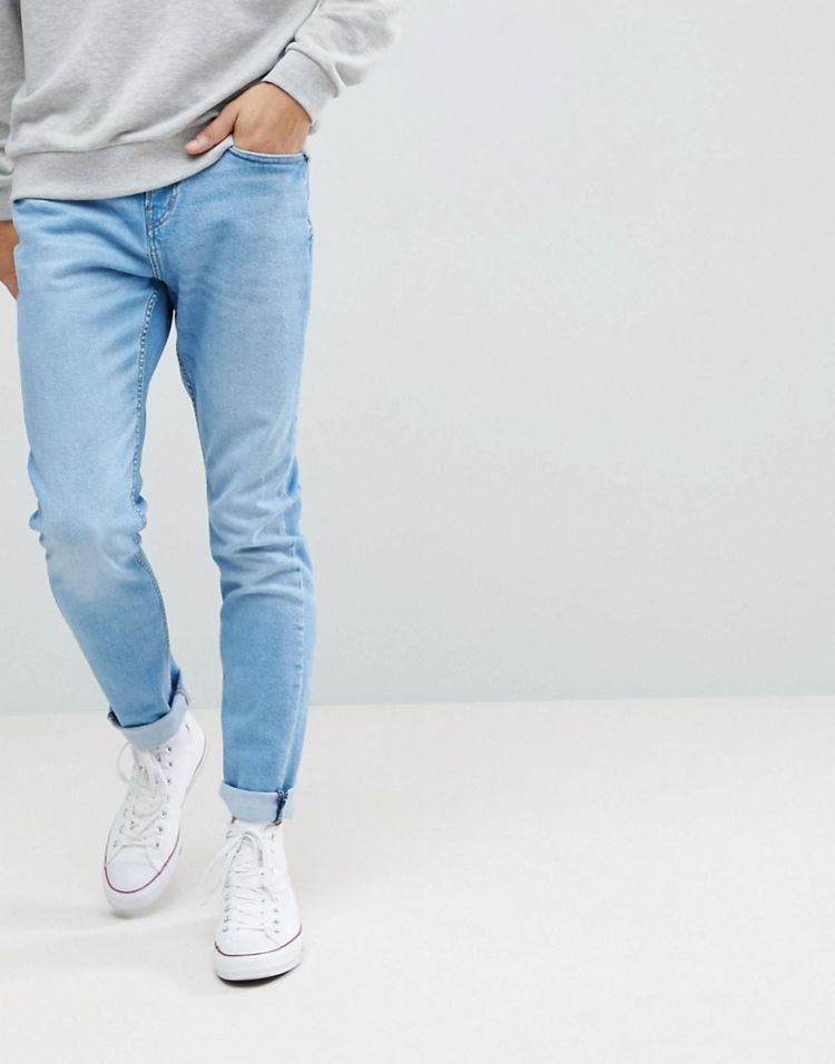 Image Pull&bear Slim Jeans In Light Blue