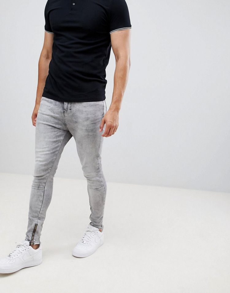 Image Religion Skinny Fit Jean With Stretch And Zips In Grey