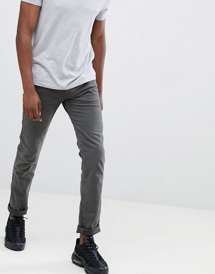 Image Replay Anbass Slim Stretch Jeans In Dark Grey