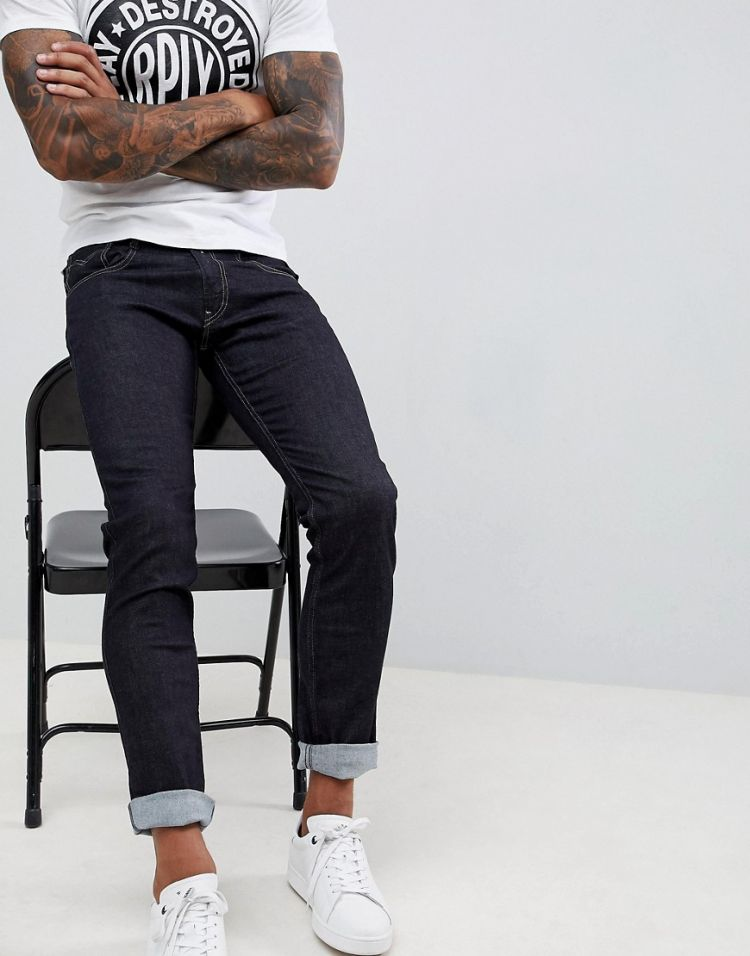 Image Replay Anbass Slim Stretch Jeans In Rinse Wash