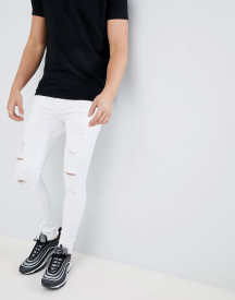 11 Degrees Super Skinny Jeans In White With Distressing afbeelding