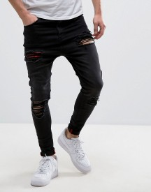 11 Degrees Super Skinny Jeans With Distressing In Black afbeelding