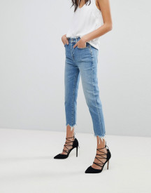 7 For All Mankind Josefina High Waist Boyfriend Jeans With Distressed Waist And Hem afbeelding