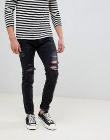 Abercrombie & Fitch Skinny Fit Destroyed Jeans In Black afbeelding