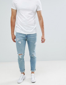 Abercrombie & Fitch Skinny Fit Destroyed Jeans In Light Wash afbeelding