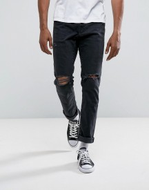 Abercrombie & Fitch Slim Fit Jeans In Destroyed Black Wash afbeelding