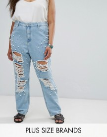 Alice & You Distressed Boyfriend Jean With Pearl Embellishment afbeelding