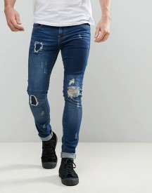 Always Rare Dexter Super Skinny Jeans Dark Wash Patchwork Rips afbeelding
