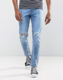 Antioch Stretch Ripped Skinny Jeans In Light Blue Stone Wash afbeelding