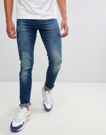 Armani Exchange J14 Skinny Fit 5 Pocket Stretch Jeans With Abrasions In Mid Wash afbeelding