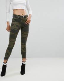 Arrive Camo Print Jean With Split Hem Detail afbeelding