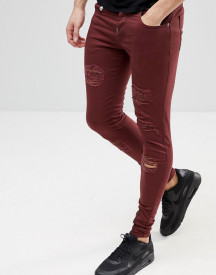 Ascend Denim Super Skinny Muscle Fit Jeans In Extreme Rips With Zips afbeelding