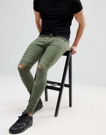Ascend Denim Super Skinny Muscle Fit Jeans In Ripped Biker afbeelding