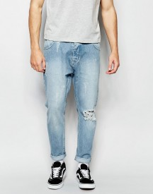 Asos Bow Leg Jeans In Light Blue With Raw Edge Waistband Detail afbeelding