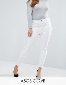 Asos Curve Ridley High Waist Skinny Jeans In Optic White afbeelding