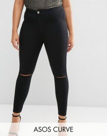 Asos Curve Rivington Jegging In Clean Black With Rips afbeelding