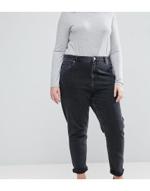 Asos Design Curve Farleigh High Waist Slim Mom Jeans In Washed Black afbeelding