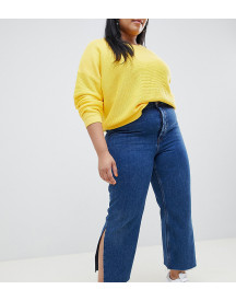 Asos Design Curve Recycled Florence Authentic Straight Leg Jeans With Side Splits In Rich Stonewash Blue afbeelding