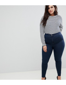 Asos Design Curve Ridley High Waist Skinny Jeans In Blue Black Wash afbeelding