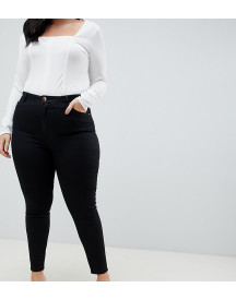 Asos Design Curve Ridley High Waist Skinny Jeans In Clean Black afbeelding
