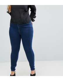Asos Design Curve Ridley High Waist Skinny Jeans In Deep Blue Wash afbeelding