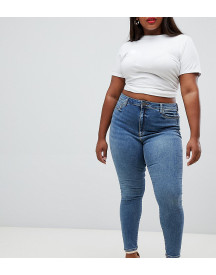 Asos Design Curve Ridley High Waist Skinny Jeans In Extreme Mid Wash afbeelding