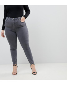 Asos Design Curve Ridley High Waist Skinny Jeans In Grey afbeelding