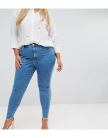 Asos Design Curve Ridley High Waist Skinny Jeans In Light Wash afbeelding