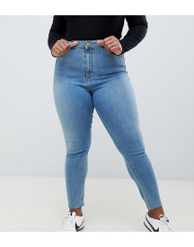 Asos Design Curve Ridley High Waist Skinny Jeans In Pretty Mid Stonewash Blue afbeelding