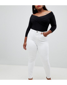 Asos Design Curve Ridley High Waist Skinny Jeans In White afbeelding